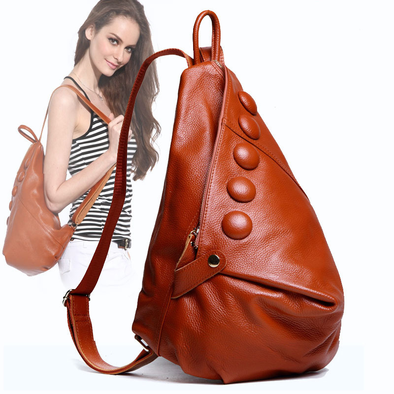 European and American Style Women Genuine Leather Backpacks Casual Travel Women School Bag Large Capacity Backpack стоимость