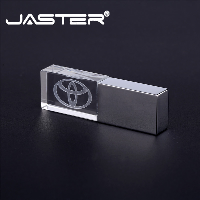 JASTER TOYOTA Crystal + Metal USB Flash Drive Pendrive 4GB 8GB 16GB 32GB 64GB 128GB External Storage Memory Stick USB 2.0