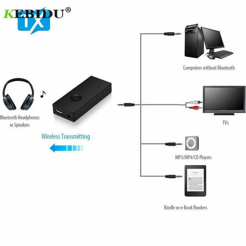KEBIDU sans fil Bluetooth transmetteur Bluetooth Audio transmetteur adaptateur RCA/3.5mm pour TV casque PC portable tablette MP3 MP4
