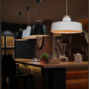 Image 4 - Creatieve Hout E27 Hanglampen 110V 220v voor Persoonlijkheid Decor Hout & Metaal lampenkap Opknoping lamp wit zwart armatuur