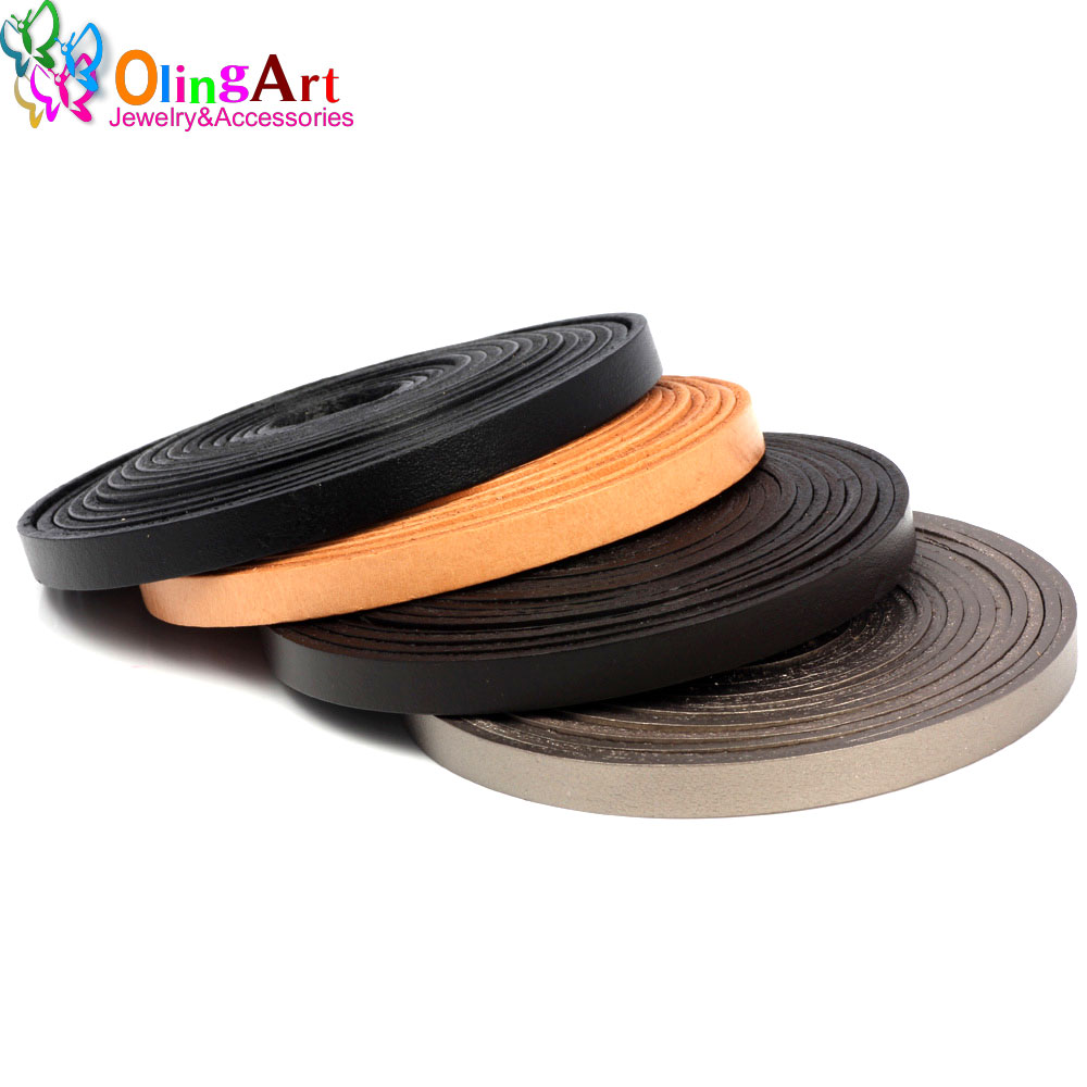 OlingArt 8*2mm 1YD/lot Black/brown/leather color Flat Leather Rope/Cords DIY necklace Bracelet earrings choker jewelry making