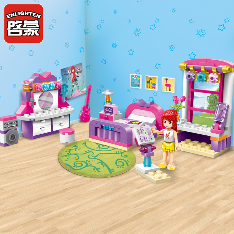 Enlighten 124pcs Legoing City Friends Cherrys Bedroom Dressing Table Building Blocks Sets Figures Guitar Toys For Girls Model Building