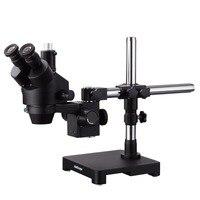 AmScope 7X 45X черный Тринокулярный Стерео зум микроскоп на одна рукоятка стрелы стенд SM 3T B