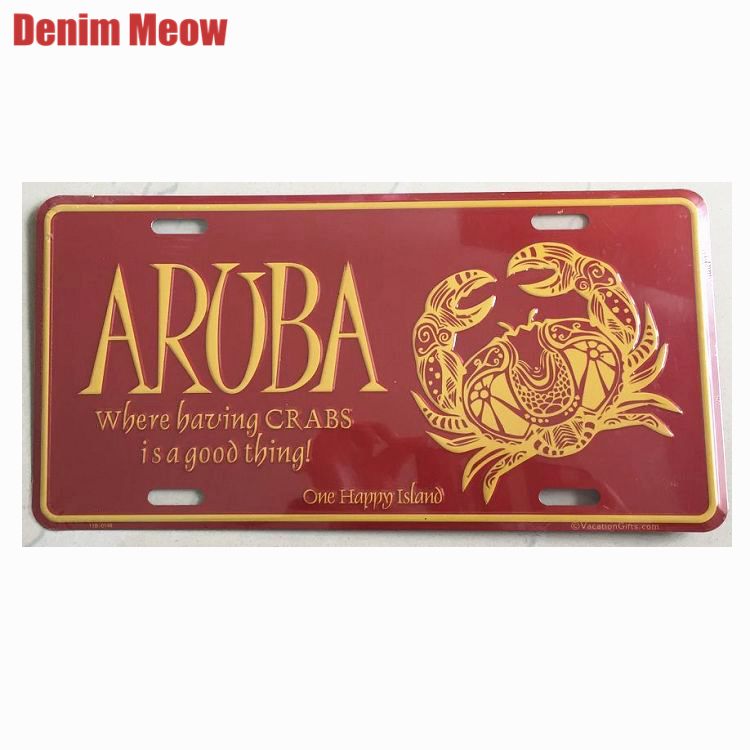 ARUBA One Happy Island Vintage Metal Tin Signs Car Bar Cafe Decor Iron Wall Stickers Art Poster Billboard Plates Plaque N183 signs