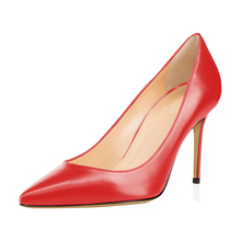 Sexy Fashion Solid Genuine Leather Pumps 9 Colors Office Women Pointed Toe High Heels 8.5cm Shoes C023A