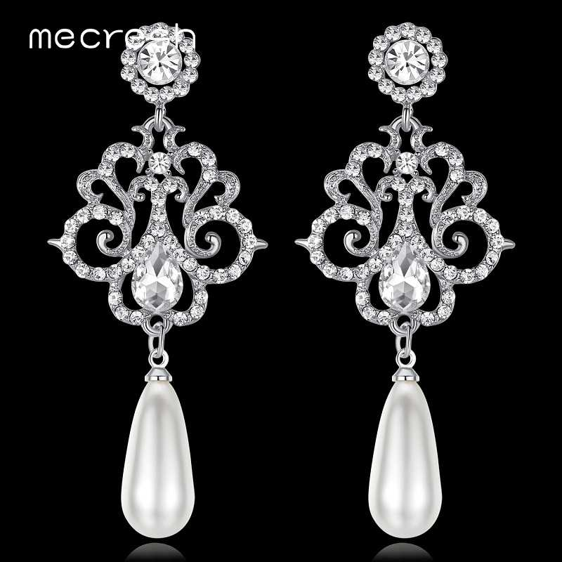 Mecresh Luxury Simulated Pearl Women Long Earrings Silver/Gold-Color Crystal Bridal Hanging Earrings Christmas Jewelry MEH1021