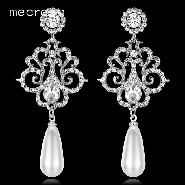 Mecresh Luxury Simulated Pearl Women Long Earrings Silver Gold-Color  Crystal Bridal Hanging Earrings efd297556932