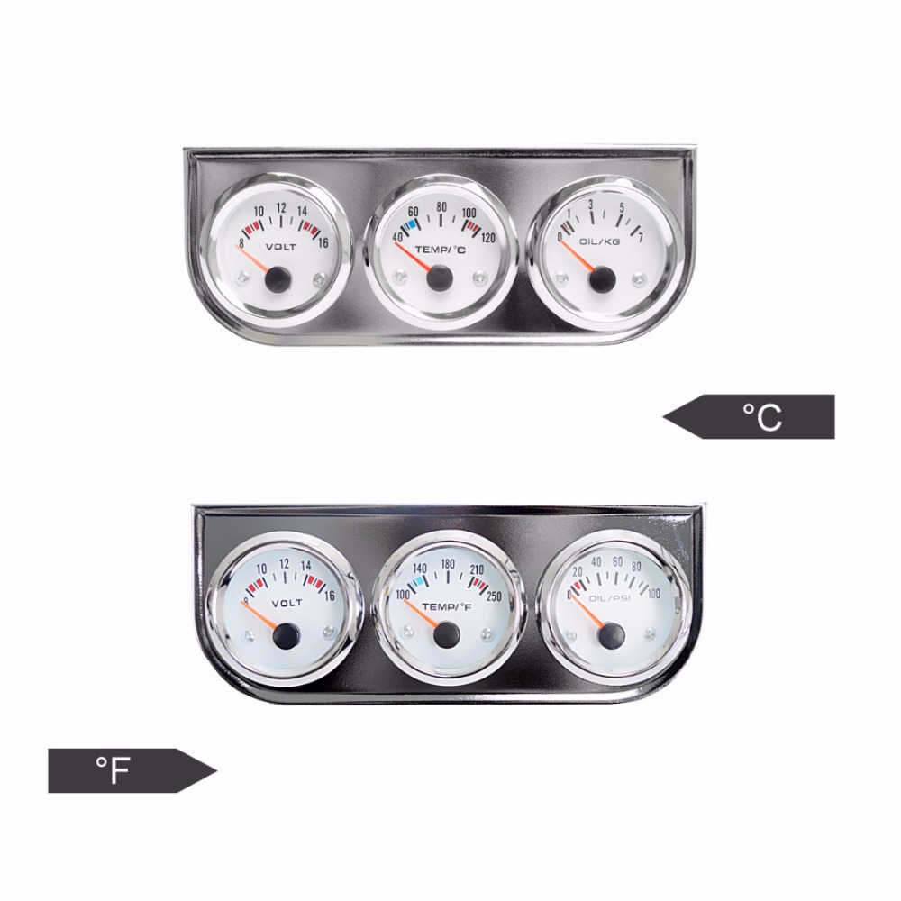 DRAGON GAUGE Triple Gauge Kit Volts Water Temp Celsius / Fahrenheit Oil Press KG / PSI 3 In 1 Set Chrome Car Meter Dashboard dragon gauge car triple guage 52mm voltage water temp celsius or fahrenheit oil press black chrome bezel 3 in 1 kit meter