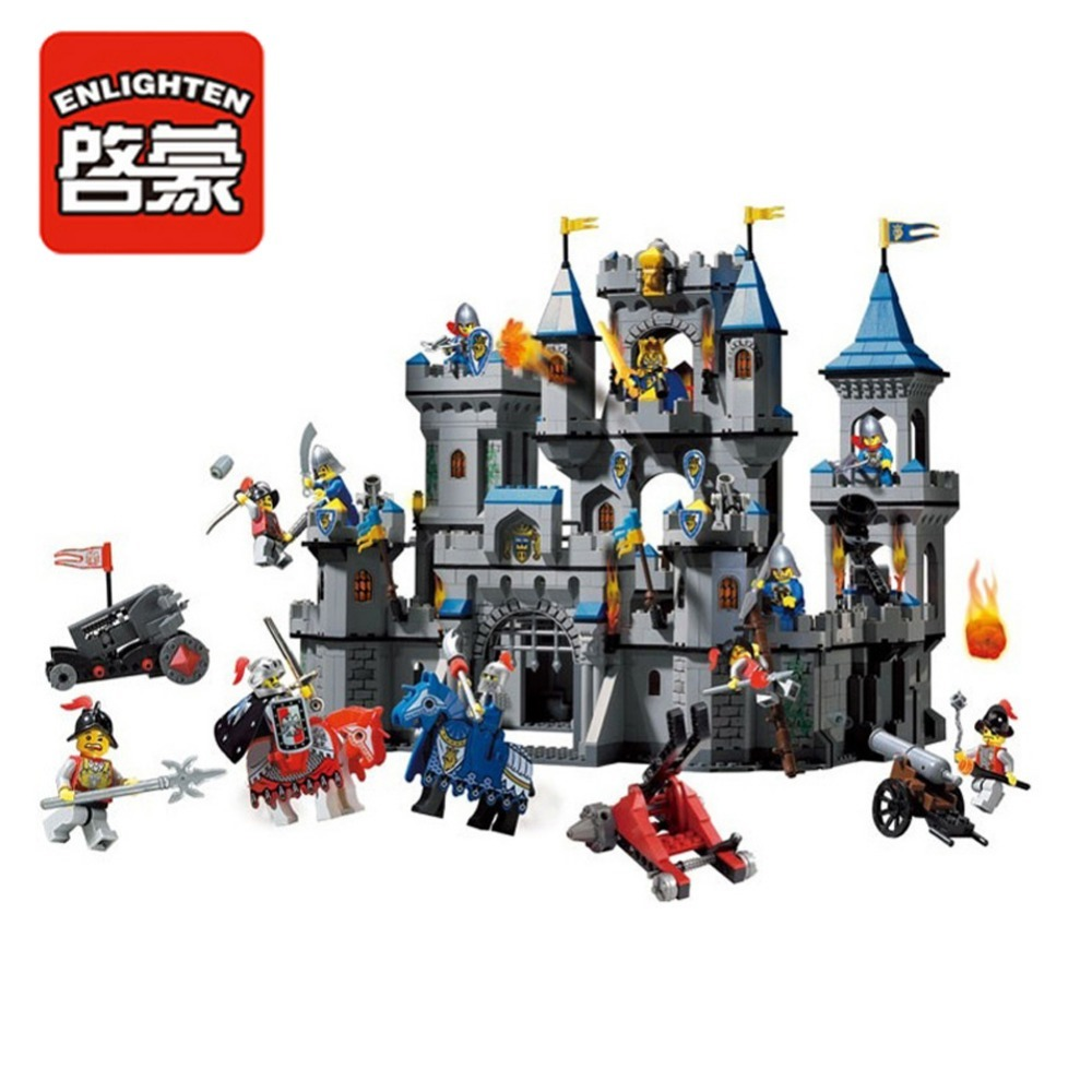 Enlighten Building Block Castle Knights Large Lion Castle 11 Figures 1393pcs Educational Bricks Toy Boy Gift enlighten new 2315 656pcs war of glory castle knights the sliver hawk castle 6 figures building block brick toys for children