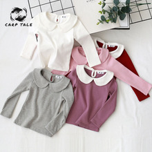 2019 new autumn and winter girls long-sleeved lapel solid color T-shirt bottoming shirt cotton children's long-sleeved T-shirt цена 2017