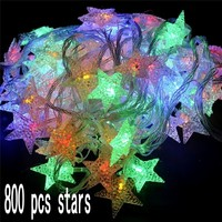 800 stars Waterproof Particle Five pointed Star Styled for Christmas Party Wedding New Year Room Decorations star String Light