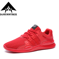 DJSUNNYMIX Brand Men S Running Shoes Red Gray Black Breathable Mesh Sneakers Outdoor Sport Training Jogging