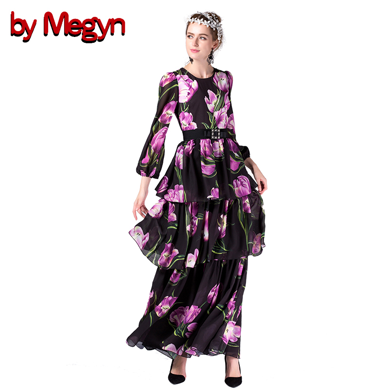 by Megyn 2017 maxi dress women Lantern long sleeve vintage Flower Print tunic waistband elegant female long party dress vestidos