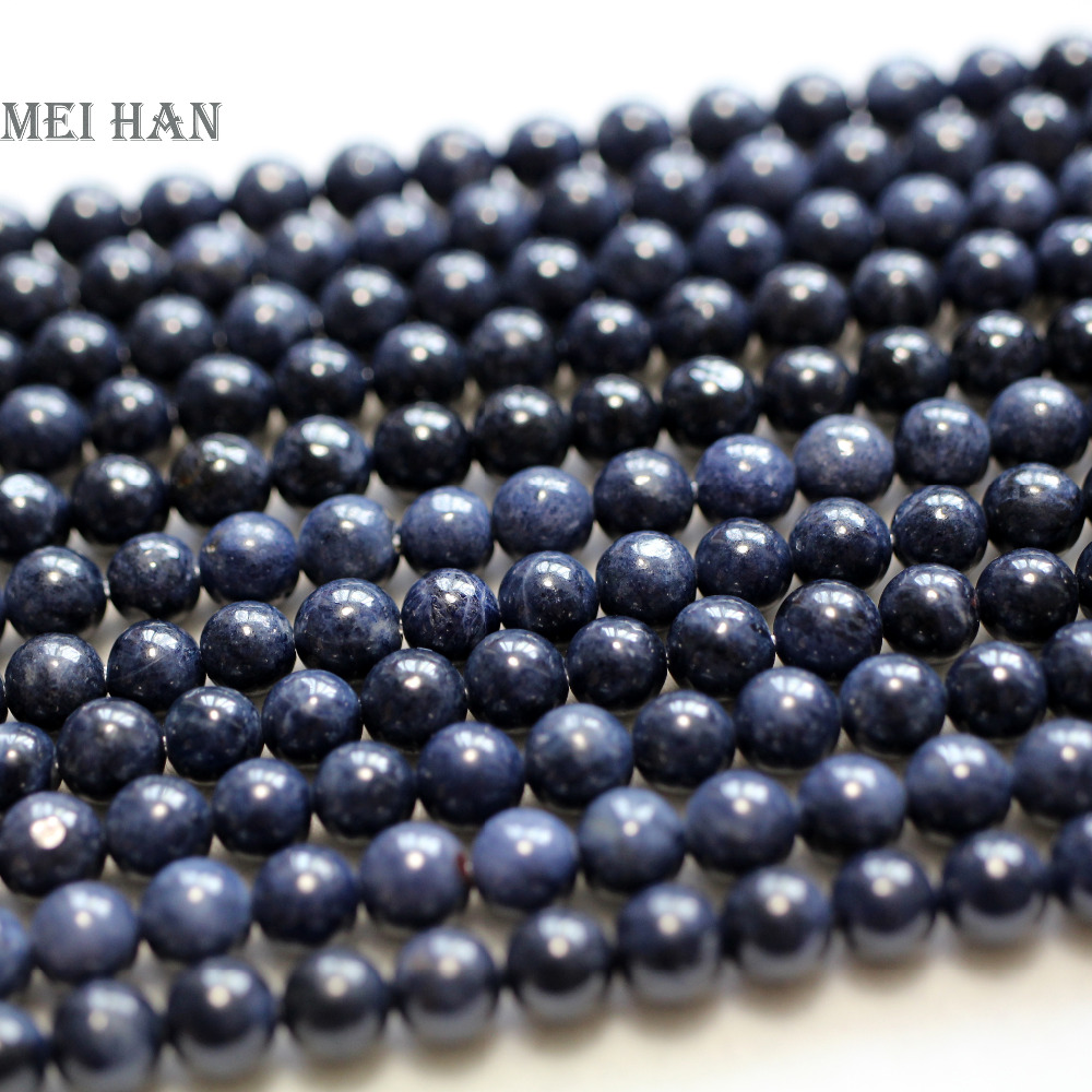 Meihan wholesale 65 beads strand 29g natural A blue sapphiree 6mm smooth round loose beads stone