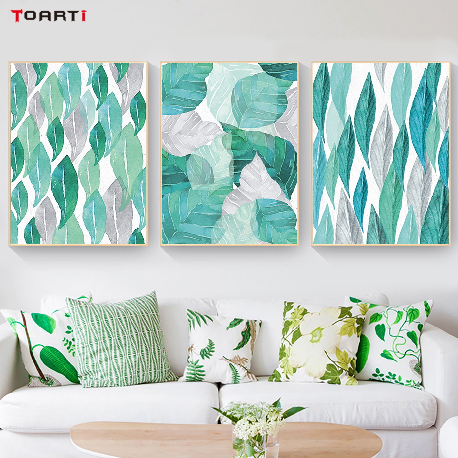 Tropical Plant Leaves Canvas Art Painting (3)
