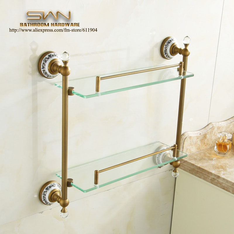 цена на Antique Brass Bathroom Shelf Dual Tiers With Towel Bar Rack