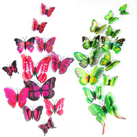 12pcs/lot Plastic Artificial Double Layer Wing 3D Butterfly Pin Clip Jewelry for Mosquito Net Curtain Christmas Tree Party Decor