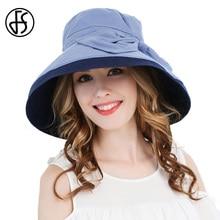FS Cotton Linen Foldable Sun Hat Women Elegant Beige Navy Blue Summer Large  Brim Hats Ladies 94b9fde4679a