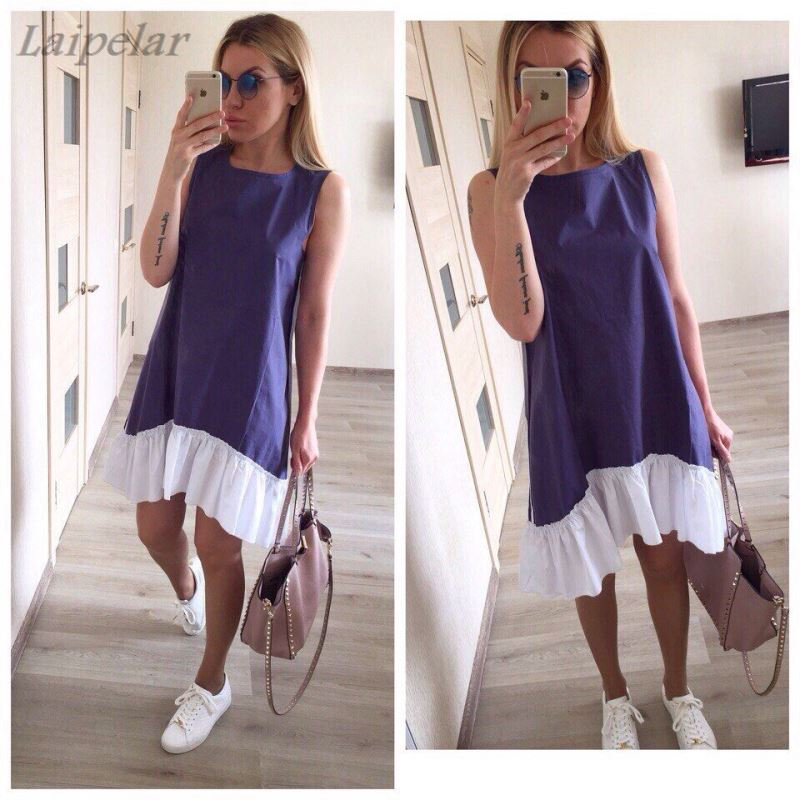 Summer Dresses 2018 Casual Loose Patchwork Sleeveless Ruffles O Neck Mini Dress Fashion Women Dress Ukraine Vestidos Laipelar in Dresses from Women 39 s Clothing