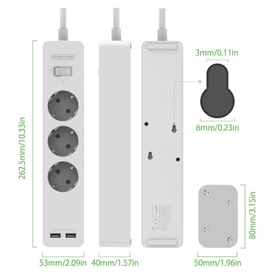 Ntonpower Smart Power Strip Contactdoos Met Overspanningsbeveiliging Eu Plug Met Schakelaar Stopcontact Uitbreiding Met Usb-poorten