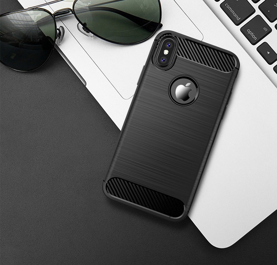 TOMKAS Phone Case Carbon Fiber Cover For iPhone XS Plus X 2018 5.8 6.1 6.5 Inch Soft TPU Silicon Case Protective Back Cover 2018 (8)