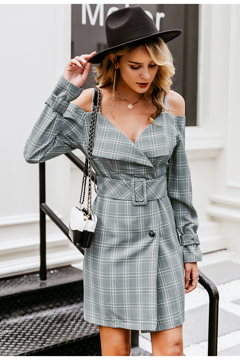 Simplee V-neck plaid sash belt women dress Spaghetti strap button office ladies dress Autumn winter female short party dress 6