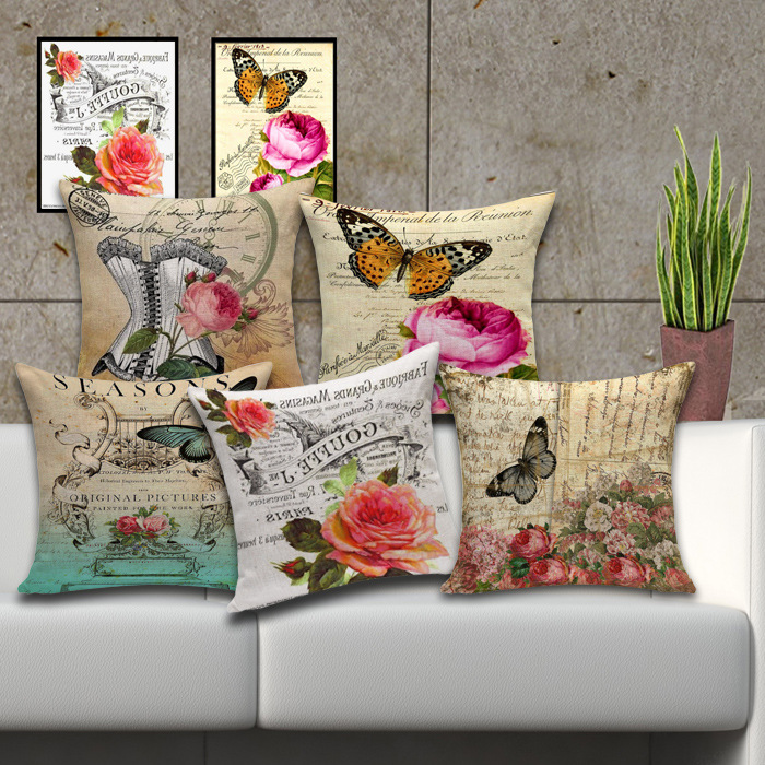 40 French Country Butterfly Flowers Cotton Throw Pillow Car Seat Fascinating French Country Decorative Pillows