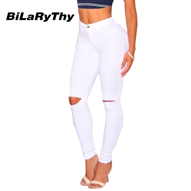 BiLaRyThy Casual Woman Ladies Basic Jeans Ripped Holes High Waist Skinny Cotton Denim Pencil Pants Solid White Fashion Jeans
