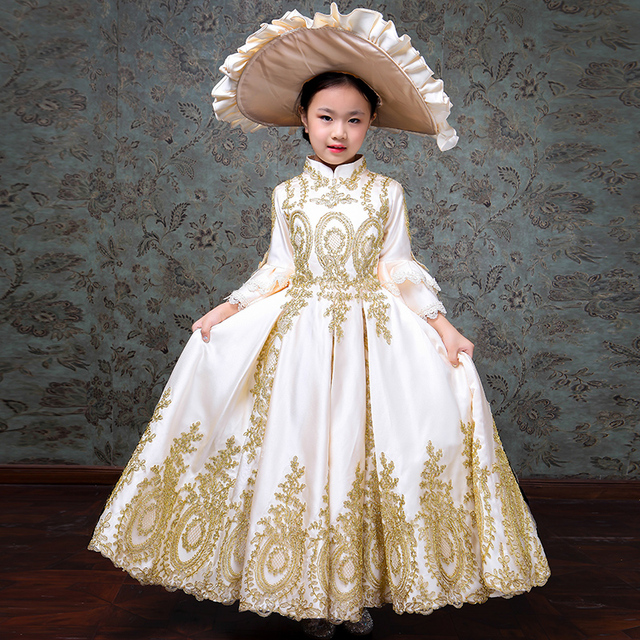 70071a6446ba Customized 2018 White Children Evening Party Dresses Medieval Gold Appliques  Birthday Party Ball Gowns Costumes