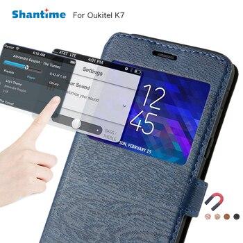 עור מפוצל טלפון תיק מקרה עבור Oukitel K7 Flip מקרה עבור Oukitel K7 להציג חלון ספר מקרה רך Tpu סיליקון חזור כיסוי