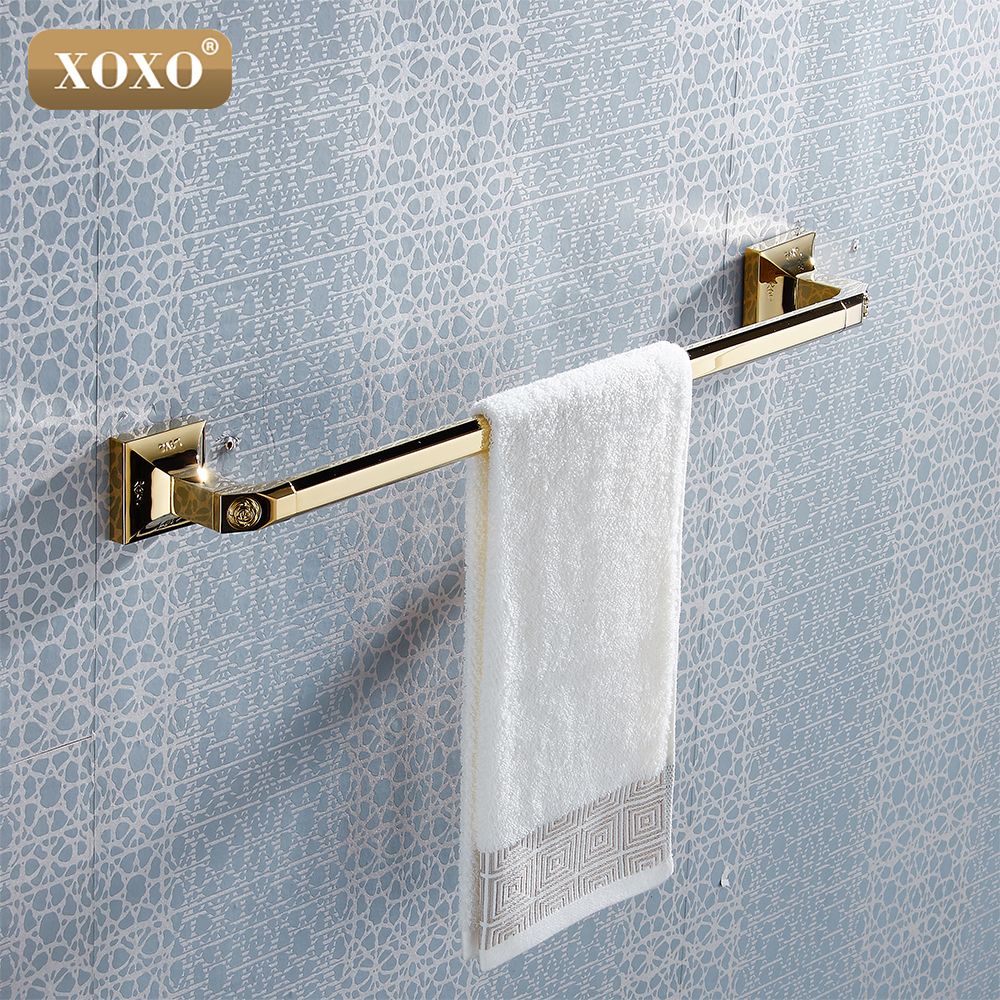 XOXO Wall Mounted Golden Brass single Towel Bars Art Carved Style Bathroom Towel Hanger bathroom accessories 17024G antique brass double towel bars art carved style papel de parede listrado
