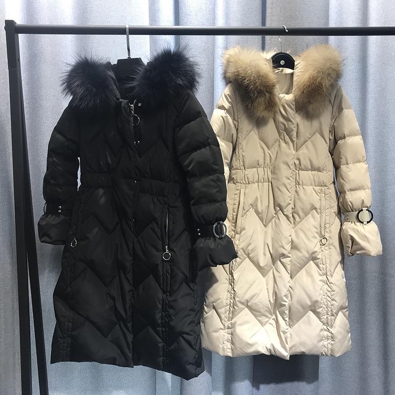 2018 Nouveau hiver Femmes Mode Bas sweatshirt à capuche Long Parkas Blanc duvet de canard Épais Femme Petite taille Long manteau chaud vêtements - 5