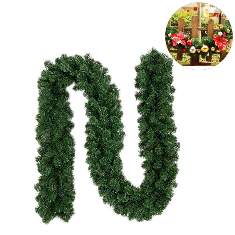 Pvc Christmas Decorations Ornaments Xmas Tree Garland Rattan Home Wall Pine Hanging Green Artificial Wreath Fireplace In Pendant Drop From