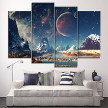 Snow Mountain Landscape And Galaxy Starry Sky Planets 4 Piece Style Picture On Canvas Print Type The Wall Decorative