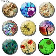 Monkey Owl Bee Poppy Fridge Magnet Set 8PCS 25MM Luminous Animal and Flower Glass Dome Refrigerator Decoration Magnetic Stickers