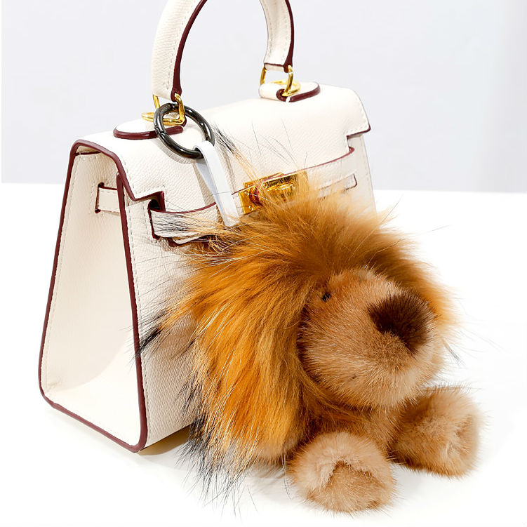Cute Genuine Real Mink Fur Plush Fluffy Furry Lion Keychain Pompom Animal Key Chain Pendant Women Bag Charm Bag Accessories