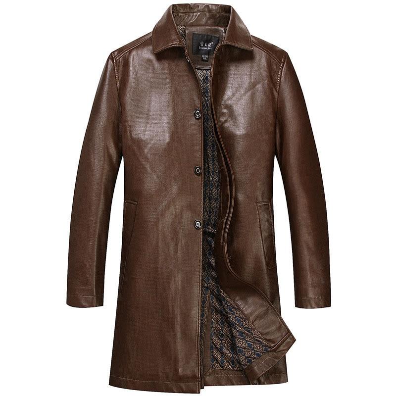 2017 New arrival Long Leather Jacket Men Coat PU Brand ...