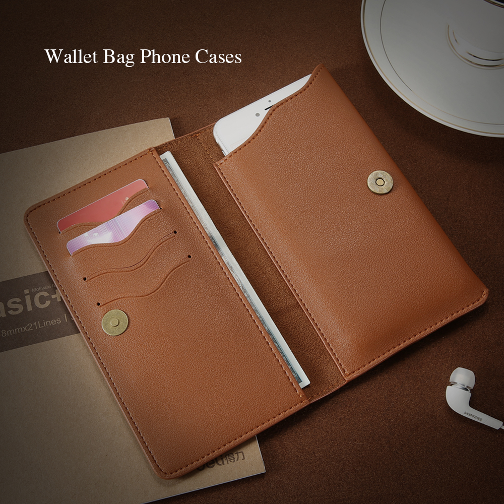 KISSCASE Universal Wallet Case For iPhone 6 6s 7 Plus Cover Cash Card Socket For Xiaomi Redmi 4X Note 4A 5 Case Phone Bag Pouch
