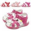 Sapatos de bebê meninas miúdos verão criança sapatos de bebê primeiros sapatos walker criança flor biqueira cobrindo sapatos de princesa coelho