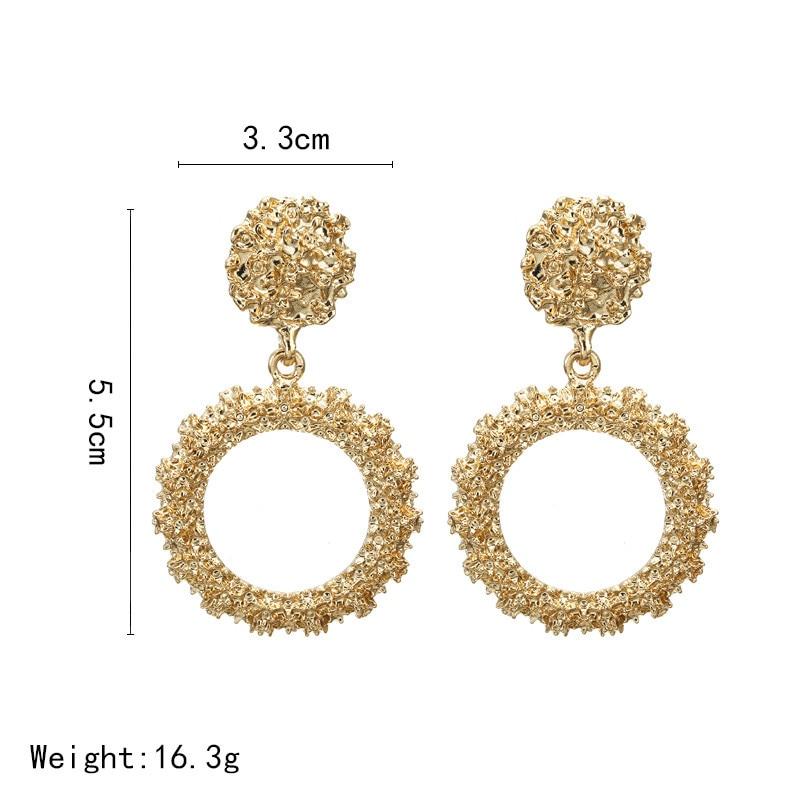 Big Vintage Earrings for Women Gold Silver Geometric Statement Earrings 19 Metal Earring Hanging Fashion Jewelry 3