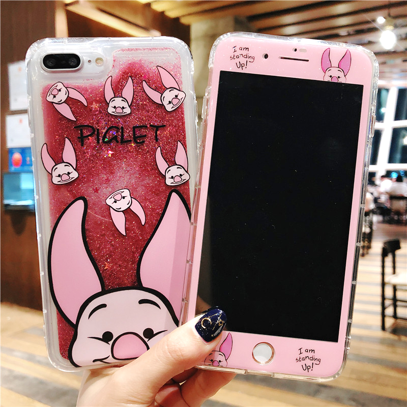 For Iphone 8plus Cute Sailor Moon Dynamic Glitter Liquid Quicksand Case Fitted Cases Glass Screen Film For Iphone 7 8 7plus 6s 6splus Case