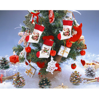 Christmas santa claus+snowman 2pairs/set socks stocking candy gift bag tree stand Hanging for Decorations Xmas season Home Party