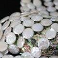 Moda 14mm branco natural cultivadas de água doce pérola beads coin rodada bolo fit pulseira fazer jóias 15 inch B1353 necklacce