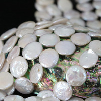 Fashion White Natural Cultured Freshwater Pearl Beads Coin Round Cake Fit Necklacce Bracelet Jewelry Making 15inch