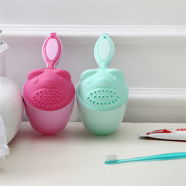 Stylish Design Mouth cup Baby Spoon Shower Bath Water Swimming Bailer Shampoo Cup Children's Products Bathroom Accessories *65 2