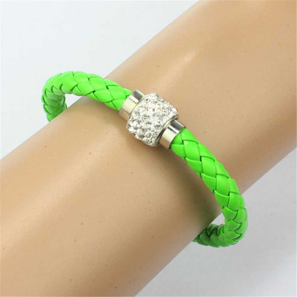 Korean New Wristband Magnetic Rhinestone Buckle Leather Wrap Bracelet Bangle Special PU Leather unique  Dropship accessories
