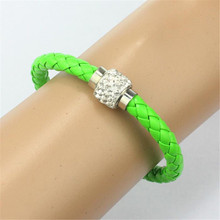 Korean New Wristband Magnetic Rhinestone Buckle Leather Wrap Bracelet Bangle Special PU Leather unique Dropship accessories(China)