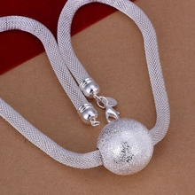 silver plated fashion jewelry Necklace pendants Chains, 925 jewelry silver plated necklace Big Ball Net Necklace rxus ujfz