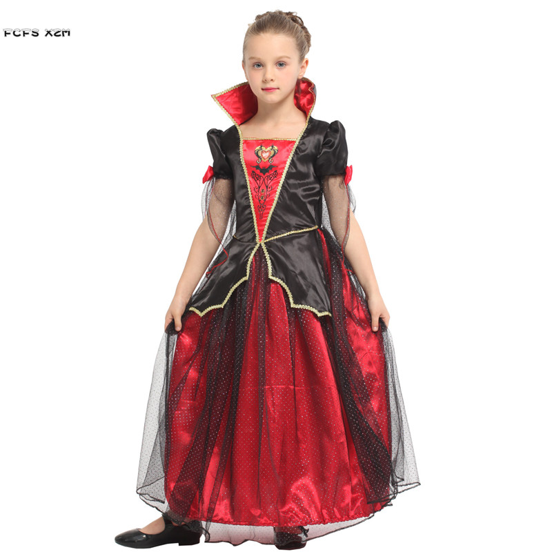 Girls Halloween Vampire Costume for Kids Children Princess Queen Cosplay Carnival Purim Masquerade Role play party Evening dress