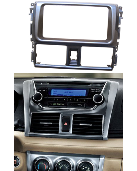 Double Din Stereo Panel For Toyota Yaris L 2013 2014 Fascia Radio DVD Dash Mounting Installation Trim Kit Face Frame Bezel